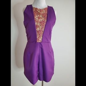 Beautiful Purple Romper with Backless Design